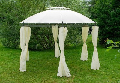 rund pavillon pergola partyzelt gartenzelt standmarkise 3 5m inkl vorh nge beige ebay. Black Bedroom Furniture Sets. Home Design Ideas