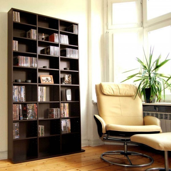 Cd dvd regal schrank vitrine wandregal b cherschrank - Wandregal braun ...