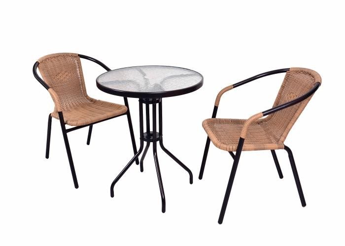 3er set 1x bistrotisch mit glasplatte und 2x bistrostuhl stapelstuhl poly rattan. Black Bedroom Furniture Sets. Home Design Ideas