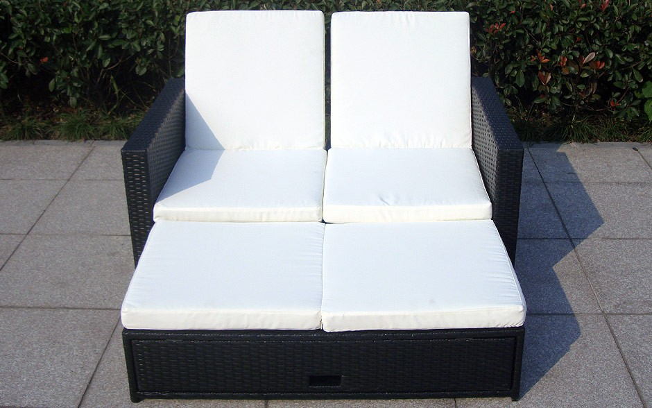 rattan doppelliege harmony sonnenliege sonne gartenliege liege garten ebay. Black Bedroom Furniture Sets. Home Design Ideas