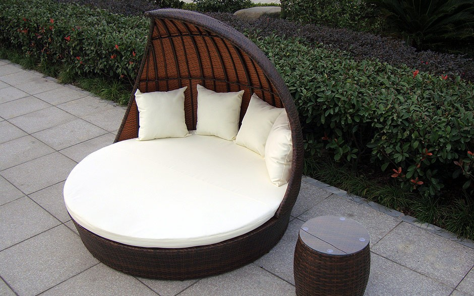 elegante polyrattan lounge doppelliege fantasy. Black Bedroom Furniture Sets. Home Design Ideas