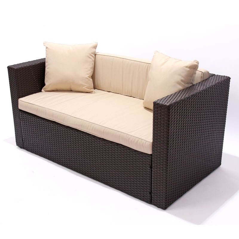 modulares poly rattan sofa couch outdoor braun meliert 2er sofa mit armlehnen ebay. Black Bedroom Furniture Sets. Home Design Ideas